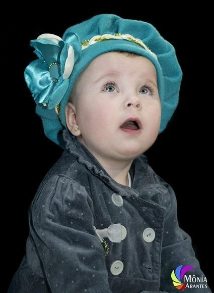 Boina Infantil Azul Tiffany Com Flor - R  49 1a0bf5f2d27
