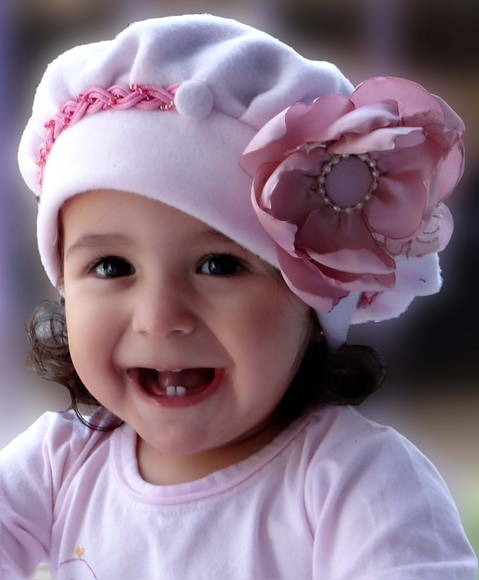 Boina Infantil Rosa Com Flor Rosa - R  55 e0a0fe097da