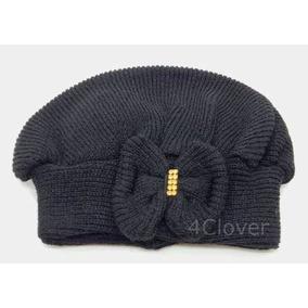 2dec02a762eab Boina Infantil De Lã Preta Com Laço Strass Touca Promoção