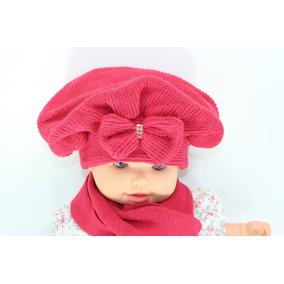 24e3ff25296c2 Boina E Cachecol Lã Infantil Bebê Crochê C  Laço E Strass