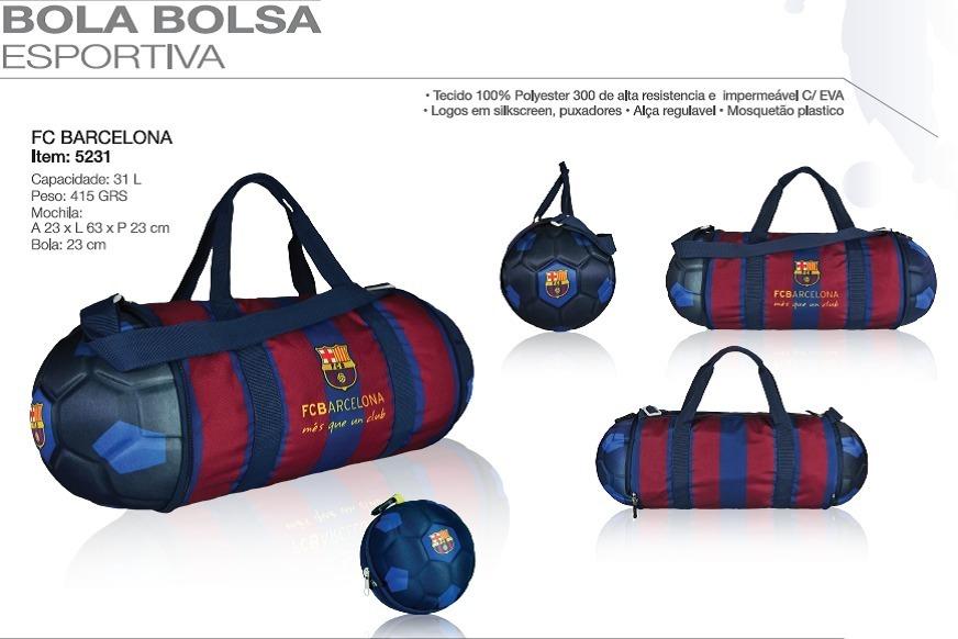 57d3f82dcb4b5 Bola Bolsa Esportiva Barcelona P/ Chuteiras Academia Oficia - R$ 155,00 em  Mercado Livre