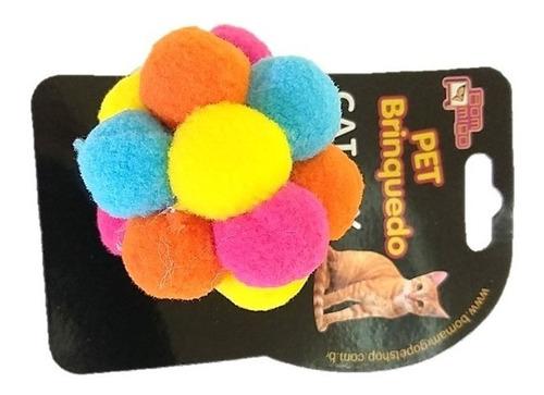 bola brinquedo para gato colorido e macio cat bolinha