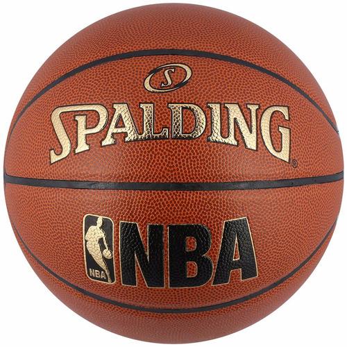 bola de basquete couro spalding nba jr. tam. oficial 74946z