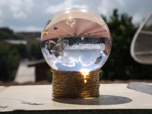 bola de cristal 10cm similar lens ball 100mm+suporte+chavero