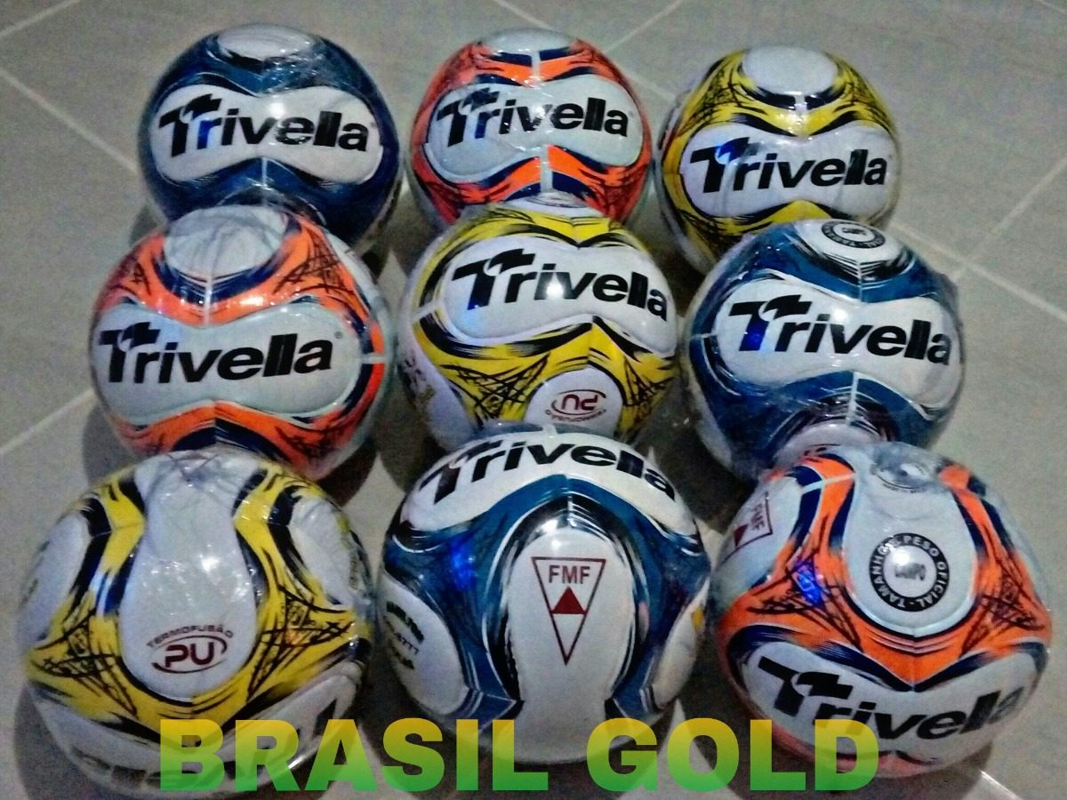 Bola Futebol Campo Trivella Original Promoção - Brasil Gold - R  65 ... 8a19c3ae882ca