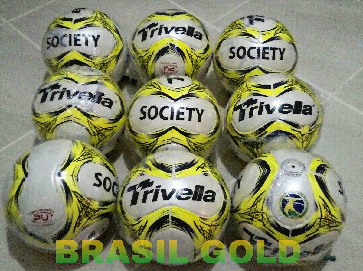 Bola Futebol Society 100% Pu Trivella Original Brasil Gold - R  65 ... d5262137b2dde