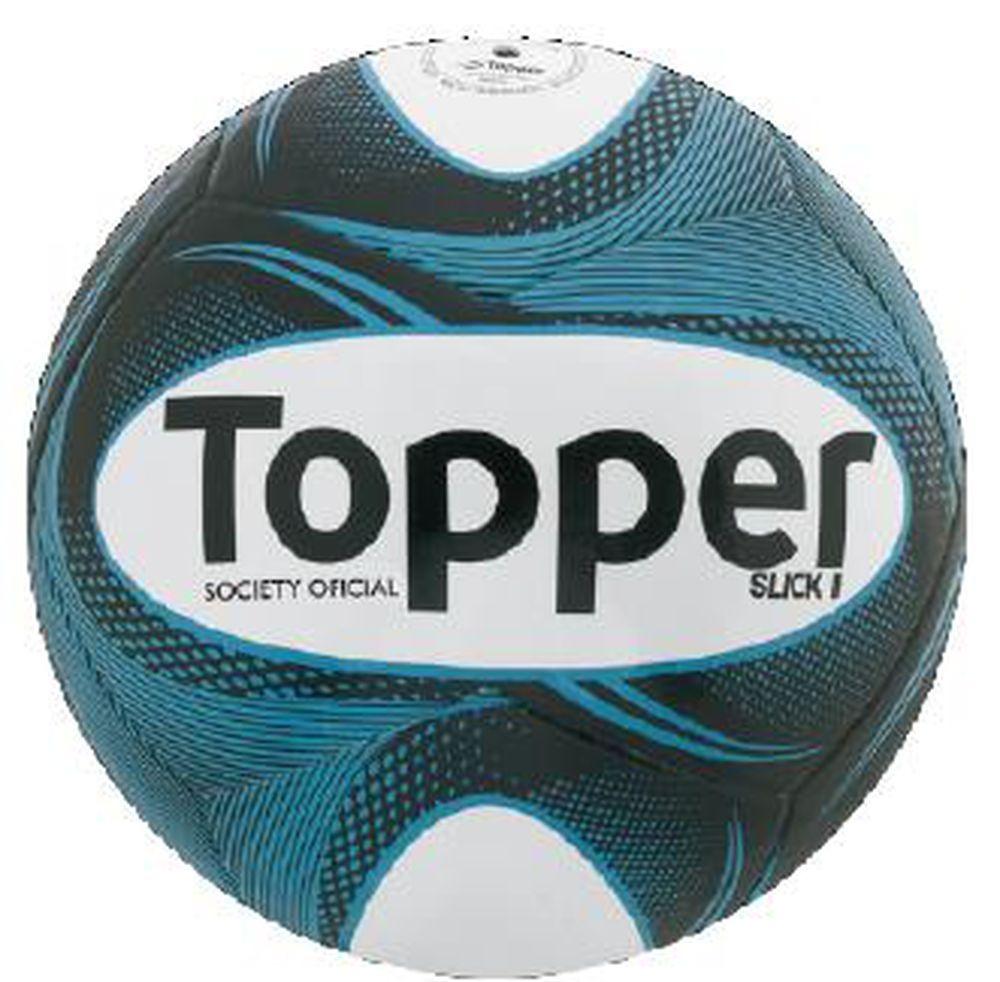 Bola Futebol Society Topper Slick Ii Azul - R  49 c4a356d53ff23
