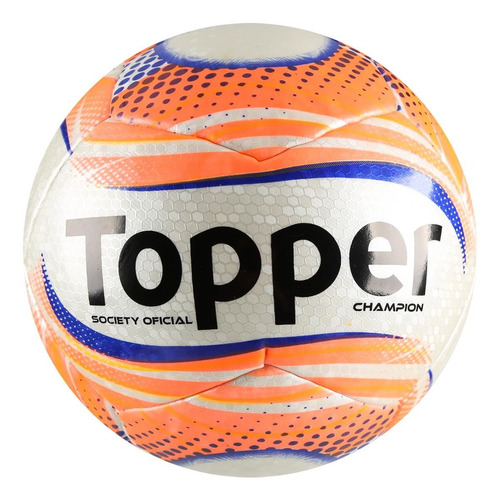 Bola Futebol Society Oficial Topper Champion + Bomba De Ar - R  79 ... a0a75049b18a7