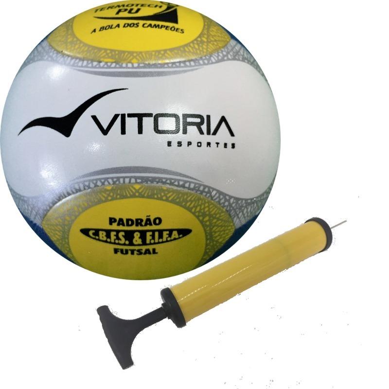 ab63886941e39 Bola Futsal Vitória Oficial Termotec Pu + Bomba De Ar - R  126