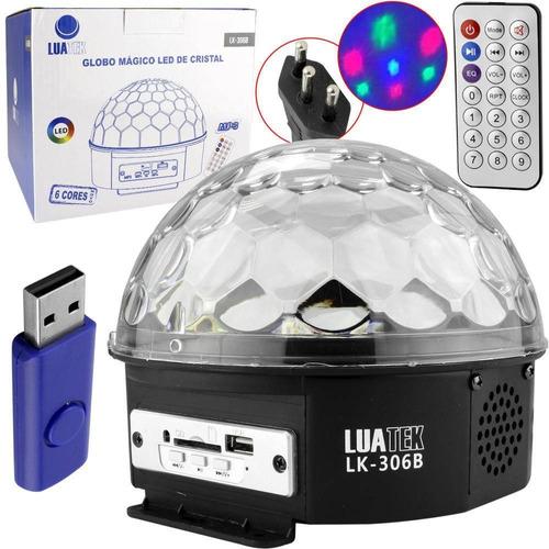 bola maluca led rgb holográfico 20w festa 6 cores bluetooth
