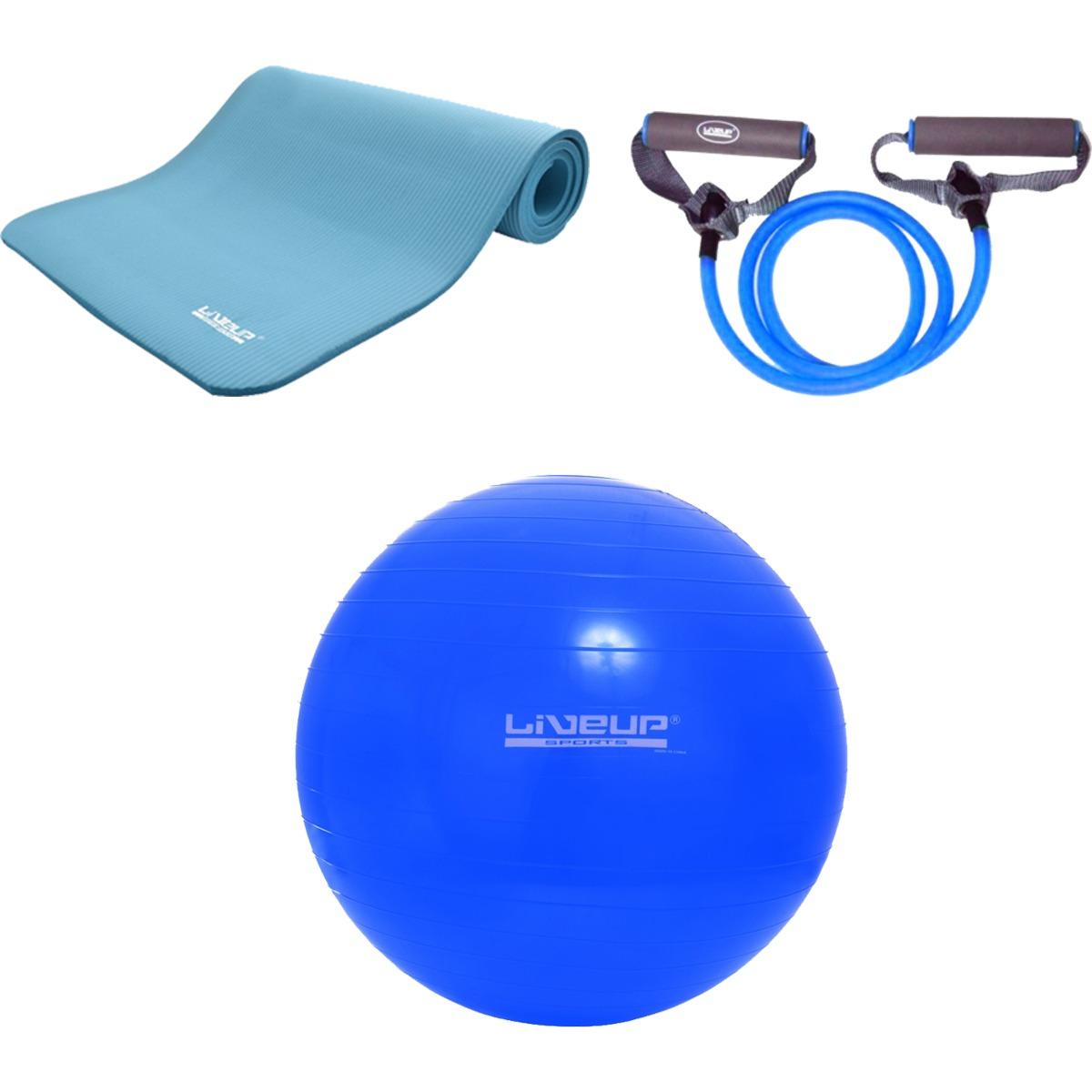 bola para pilates 65cm liveup com elástico extensor e tapete. Carregando  zoom. 172910f41b6e4