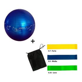 Bola Pilates 65cm S/bomba + Kit 3 Mini Band - Azul Esportes