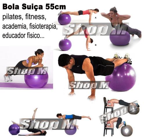 bola suiça 55cm roxa fitness + bomba dupla ação - liveup