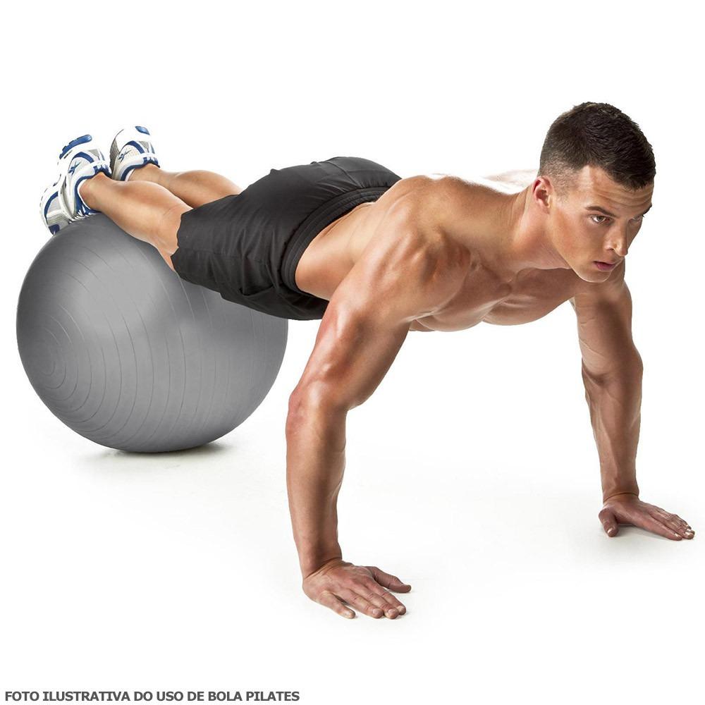 Bola Suiça 75 Cm C  Bomba Muvin Yoga Pilates Suporta 300kg - R  58 ... 57342daac3a3b