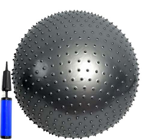 bola suiça massagem cinza 65cm + bomba dupla ação liveup fit