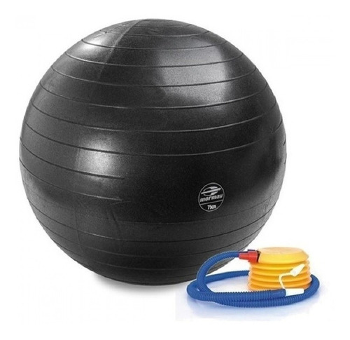 bola suiça pilates yoga 75 cm preta c/ bomba mormaii 447300