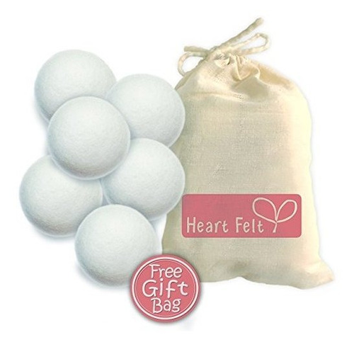 bolas de secador de lana con fieltro de corazon 6 paquete xl