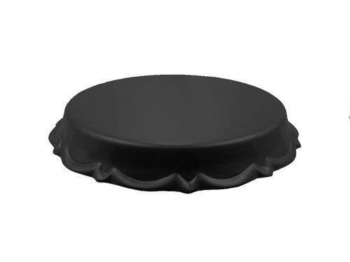 boleira em cerâmica suporte bolo doces média 29 x13 cm preta