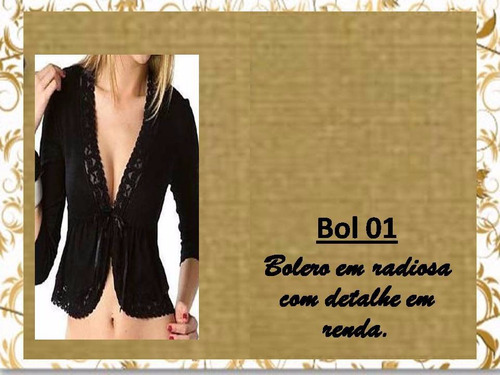 bolero casaqueto renda manga 3/4 festa casamento bol02