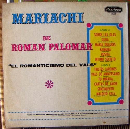 bolero, m. roman palomar, el romanticismo del vals, lp 12´,