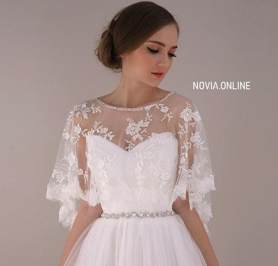 bolero torera vestido de novia encaje y aplicaciones ivory