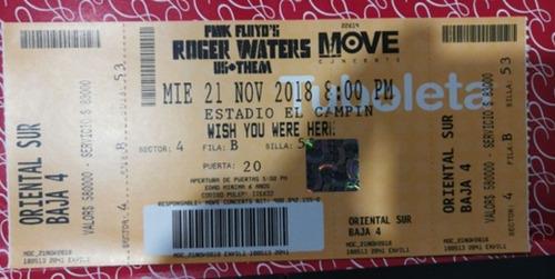 boleta roger waters oriental sur baja 4 21/11/2018