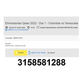 Boletas  E-ticket Partido Colombia-venezuela  27 De Marzo 20
