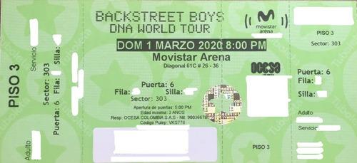 boletas backstreet boys 3er piso 01/03 mercado pago sold out