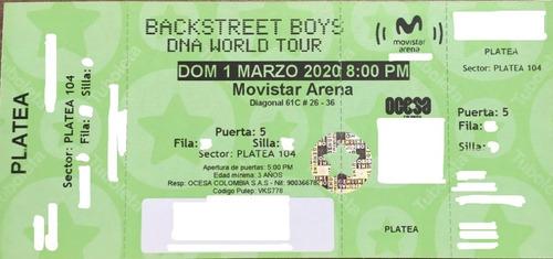 boletas backstreet boys sector platea 01/03 con mercado pago