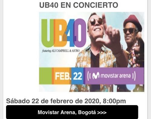 boletas concierto ub40 campbell & astro feb 22-2020 2do piso
