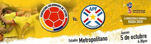 boletas partido clasificación colombia - paraguay