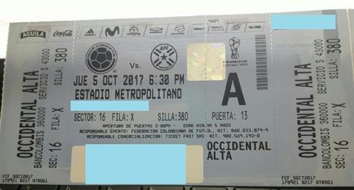 boletas partido colombia vs paraguay