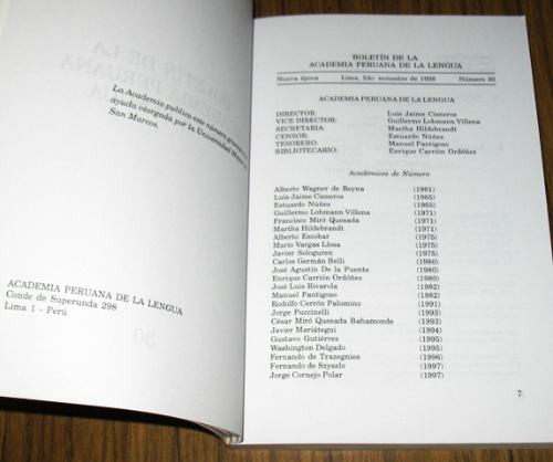 boletín academia peruana de la lengua n° 30 1999 peruanismos