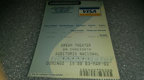 boleto concierto dream theater auditorio nacional 03 03 2002