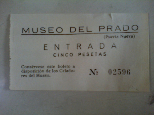 boletos antiguos de entrada al museo del prado usados