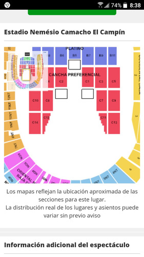 boletos concierto luis miguel x2 cancha preferencial c1