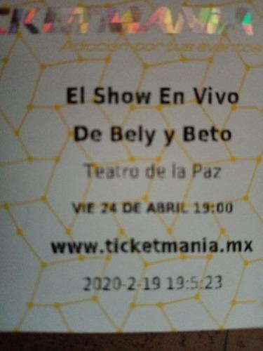 boletos para show de bely y veto pos puesto para diciembte
