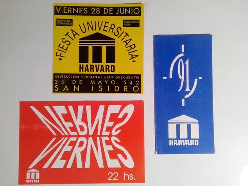 boliche harvard años '90 poster + 6 invitaciones