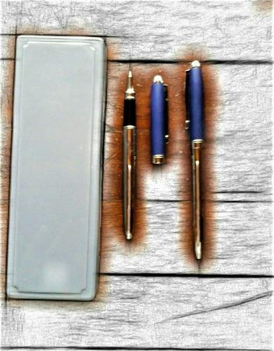 bolígrafo de metal duo con estuche pointer azul/plata