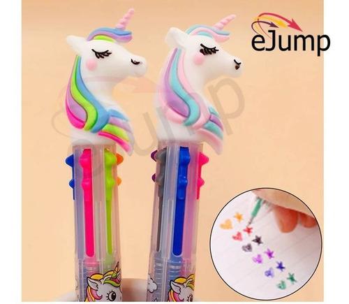 boligrafo lapicera birome unicornio multicolor souvenir