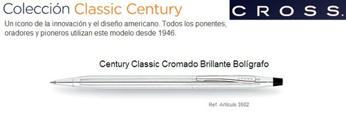 boligrafo lapicero cross original clasic century cromado