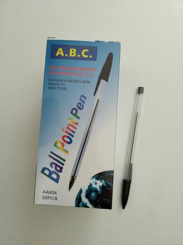 bolígrafos a. b. c. tinta negra, caja x 50 unidades.