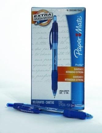 boligrafos retráctil profile tinta azul x combo 36 unidades