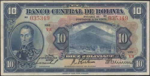 bolivia 10 bolivianos 20 jul 1928 serie y3 p121a