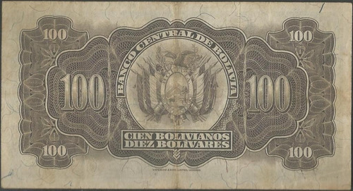 bolivia 100 bolivianos 20 jul 1928 serie d2 p133