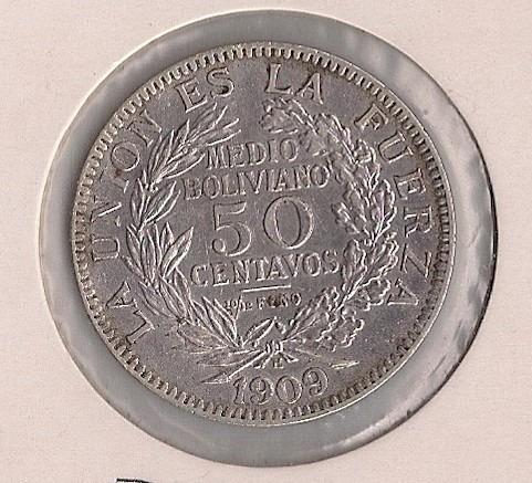 bolívia - 50 centavos 1909 h - prata - mbc