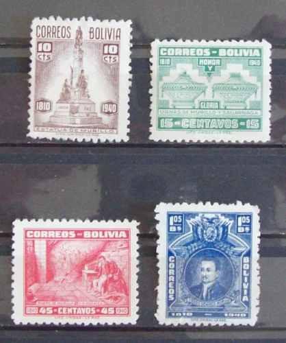 bolivia, series yv.241-244 1 nueva, 3 usadas l0258