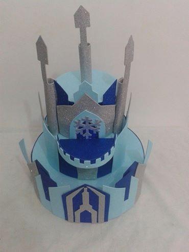 bolo fake castelo frozen