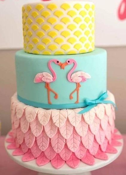 Bolo Fake Flamingo Festas R 7990 Em Mercado Livre