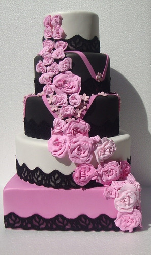 bolo maquete preto, branco e rosa casamento